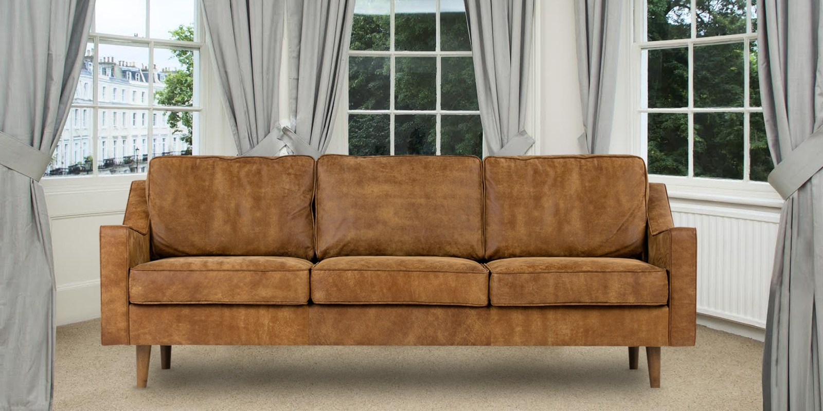 Denver Three Seater Sofa In Tan Leatherette