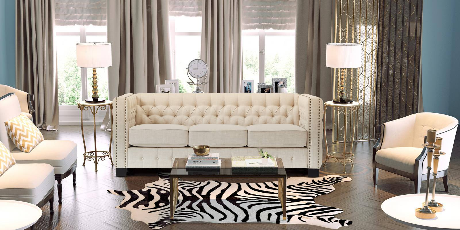 Perfect Appeal Three Seater Upholstered Sofa In Beige Colour