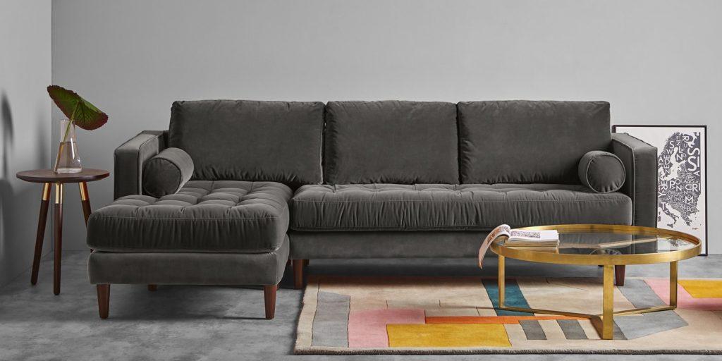 Daryl RHS Three Seater Sofa In Grey Colour