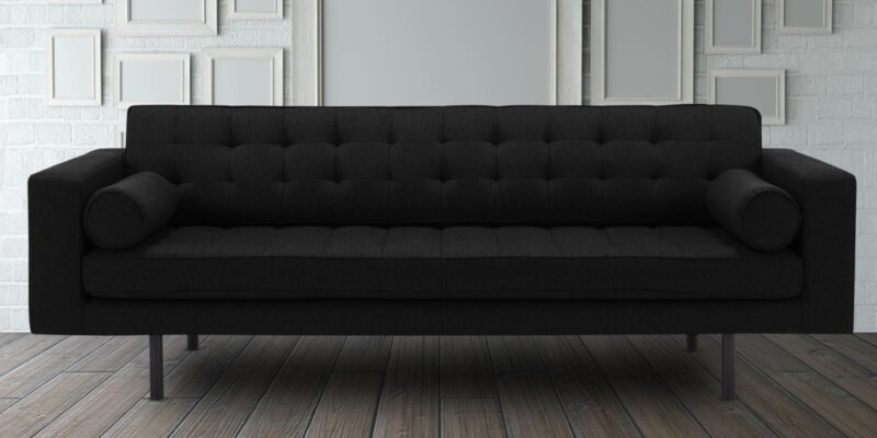 Striking Button Tufted Three Seater Sofa In Grey Colour