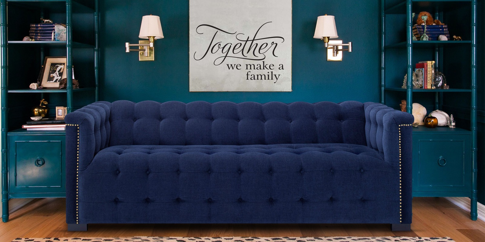 Estella Three Seater Sofa In Navy Blue Colour