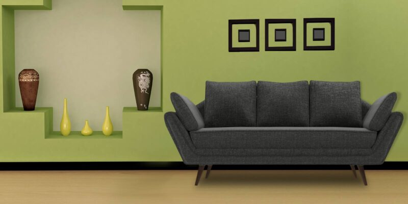 Iconic Three Seater Sofa In Grey Colour