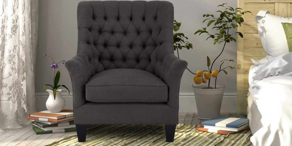 Quench Tufted Chair in Brownish Grey Colour