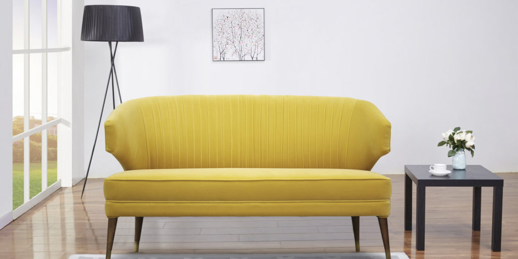 Adrian Two Seater Sofa In Yellow Colour