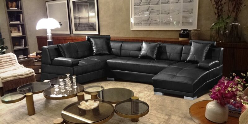 RHS Five Seater Sectional Sofa In Black Leatherette