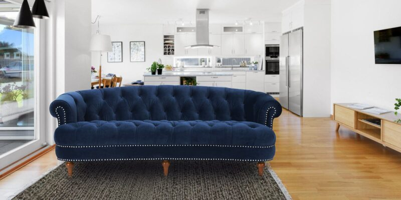 Classy Chesterfield Three Seater Sofa In Navy Blue