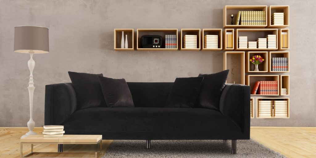 Modern Three Seater Sofa In Black Colour