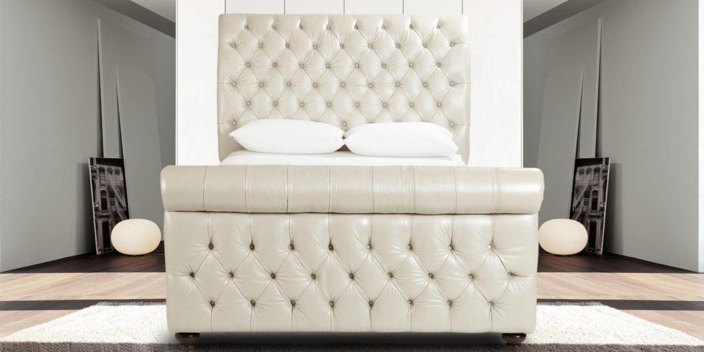 Astonishing Beige Leatherette Upholstered Bed