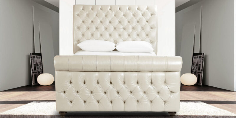 Astonishing Beige Leatherette Upholstered Bed